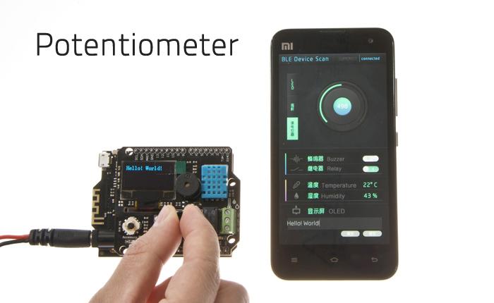 调节扩展板上的电位器,手机应用上的圆圈也会相应变动