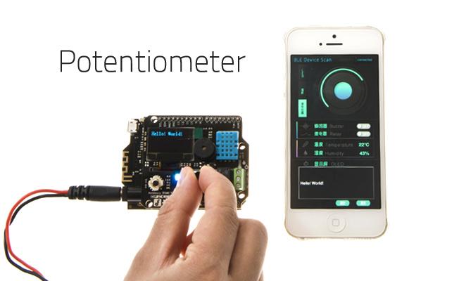 Bluno应用旋动扩展板上的电位器,手机应用中的色环会实时的变动